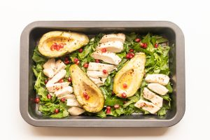 Roasted chicken with avocados