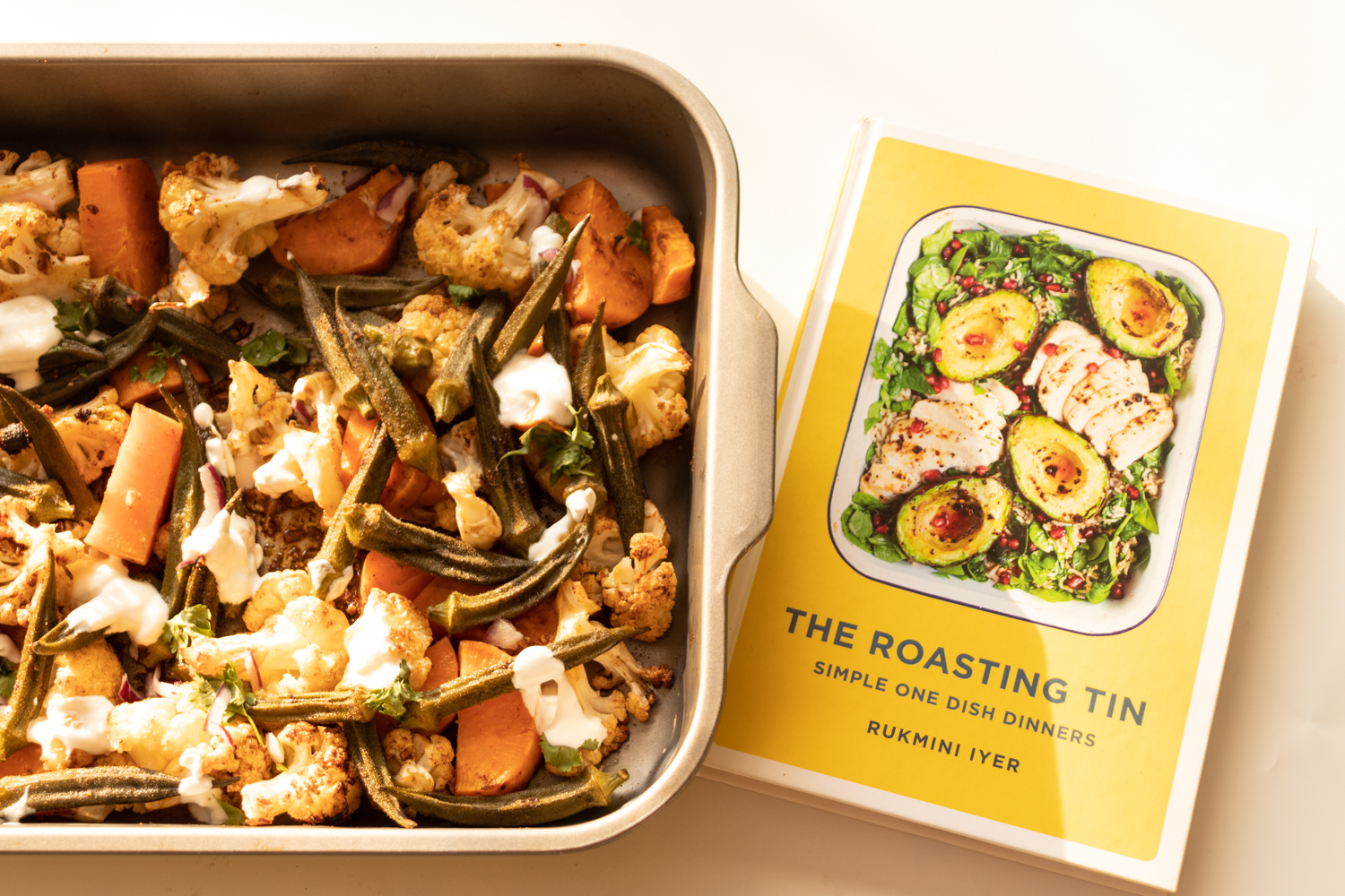 Roasted vegetables roasting tin