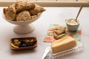 olive scones butter and cream